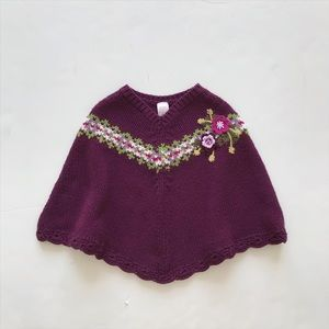 Old Navy purple knit floral poncho VGUC 4T